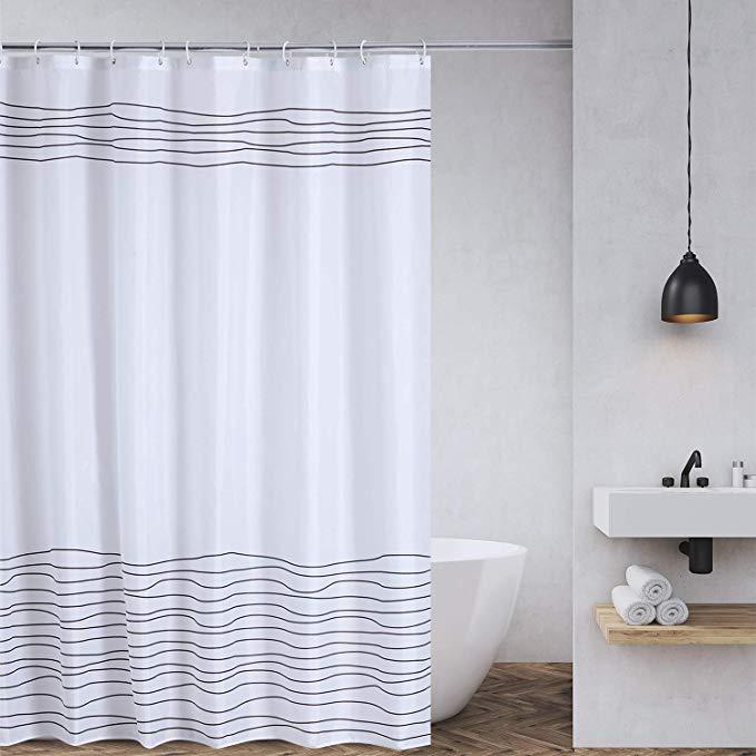 Amazon Com Buzio Line Pattern Shower Curtain With 12 Curtain
