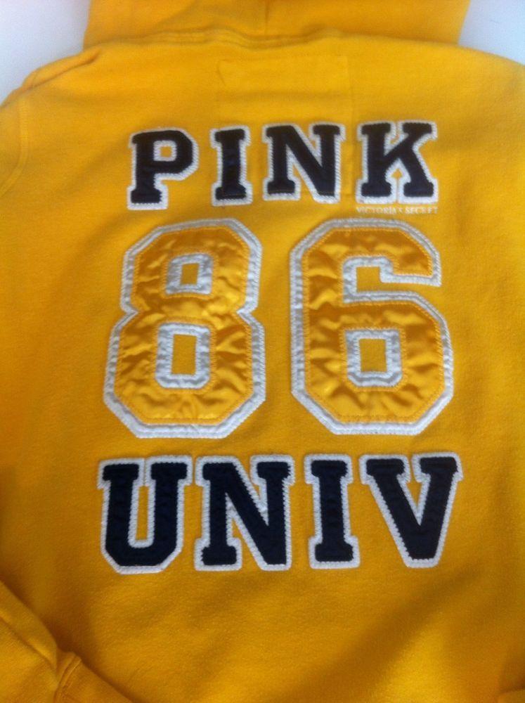 """Pink by Victoria's Secret Graphic Hoodie Sweatshirt """"go fight win pink"""" M MEDIUM #VictoriasSecret #Hoodie"""