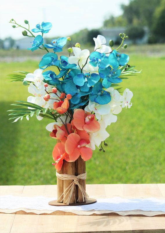 Tropical beach centerpiece coral orchids by