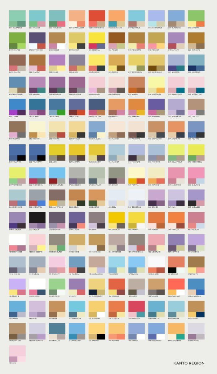 62b614d1eb4e Pantone Colors of Pokemon // Poke-Pantone 1 (Kanto Region) Art Print by  Zeke Tucker | Society6