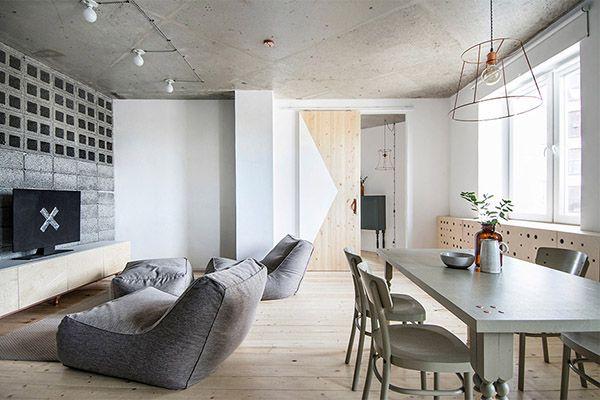 salon et salle a manger style industriel et scandinave