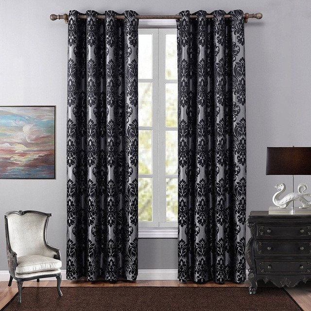 Blackout Curtains Printed European Big Flower One Panel