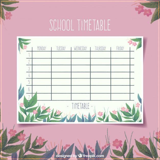 Download Floral Pink School Timetable Template For Free School Timetable Timetable Template Timetable Design