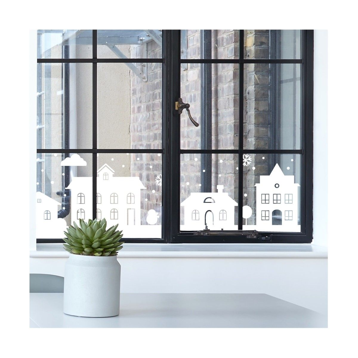 Decorative Windows For Houses Decorative Window Stickers With A Row Of Houses Kerstversiering
