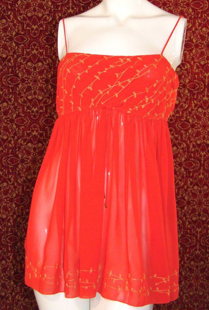 VICTORIA SECRET Red polyester spaghetti strap Teddy M (T50-02C7G) #VictoriasSecret