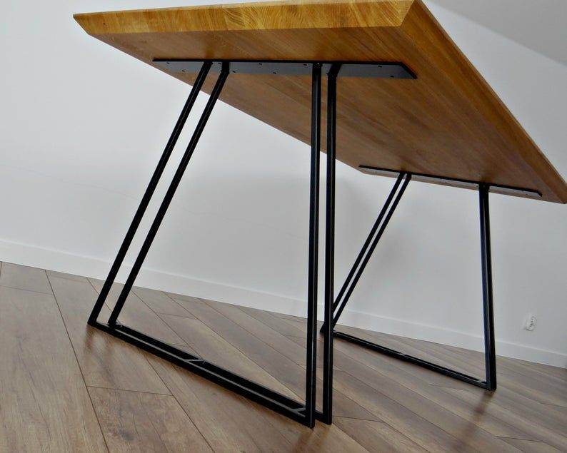 Metal Dining Table Legs Set Of 2 Steel Table Legs Mercury Etsy In 2020 Steel Table Legs Metal Dining Table Dining Table Legs
