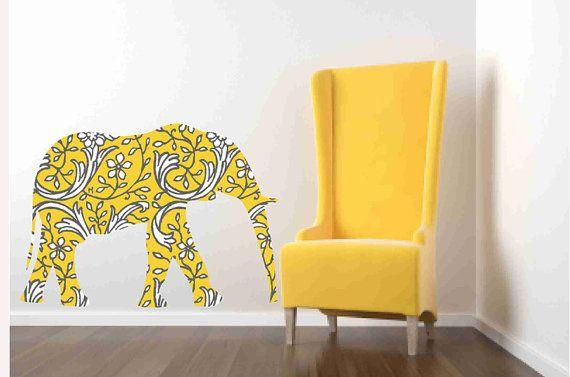 Kids Wall Decor, Yellow Elephant, Elephant Wall Decal, Nursery ...