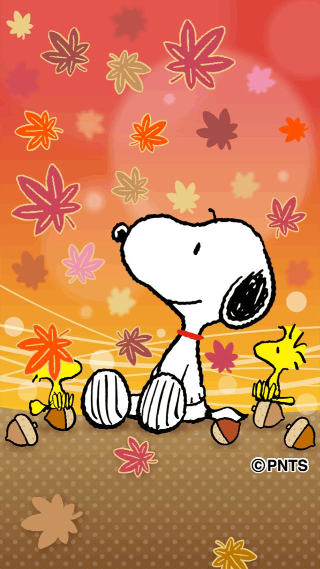 紅葉を見上げているスヌーピーとウッドストックたち Peanut Pictures, Snoopy And Woodstock
