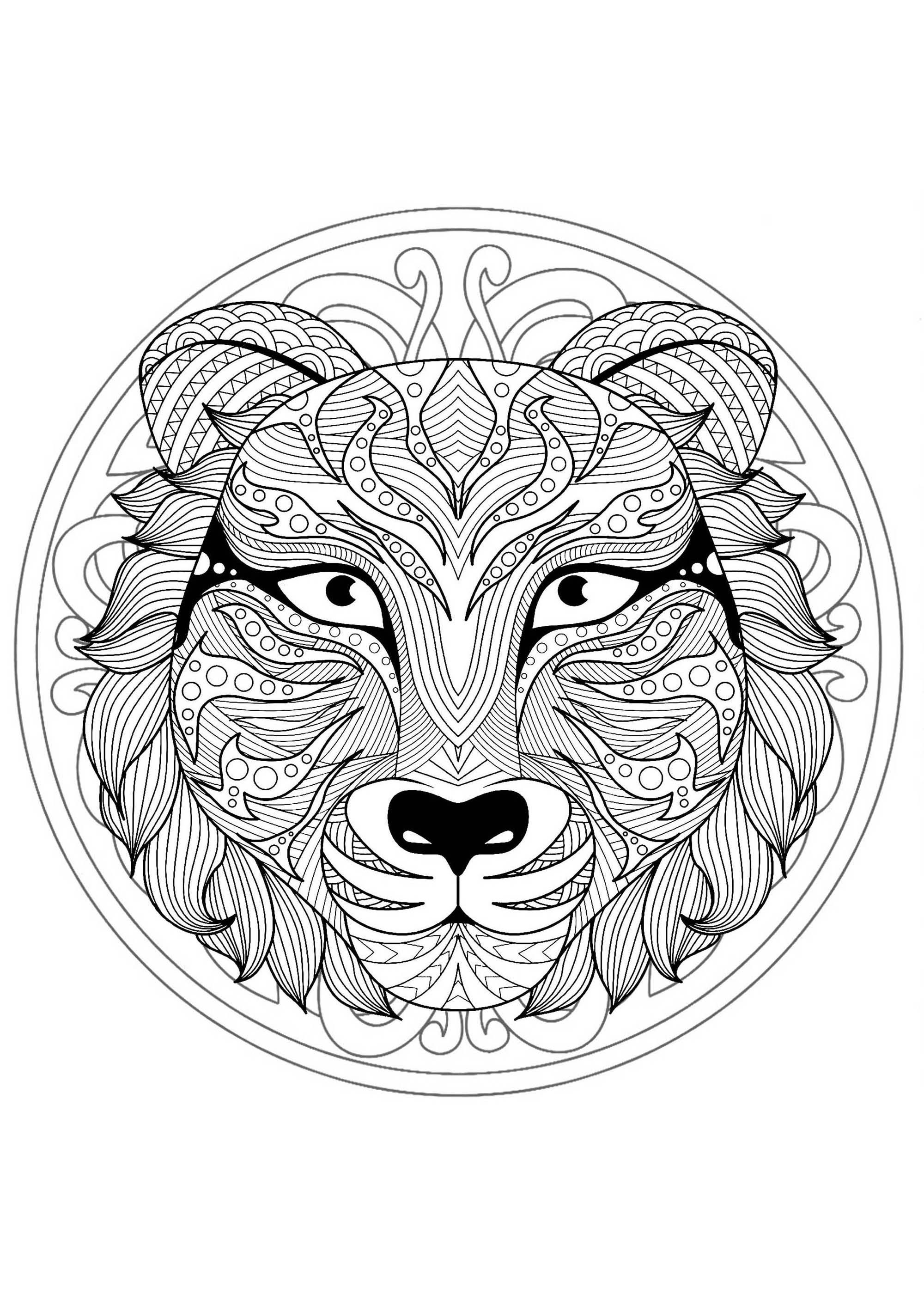 Mandala To Color With Very Gorgeous Tiger Head And Beautiful Interlaced Patterns In Background Lion Coloring Pages Mandala Coloring Pages Mandala Coloring