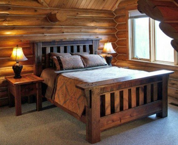Reclaimed Rustic Barnwood Mission Bed