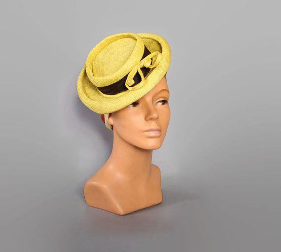 1930s 40s YELLOW & Brown TILT HAT / Textured Faux Straw, Tilt Strap