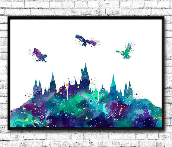 Hogwarts Castle 4 Harry Potter Blue Watercolor Art By Artsprint