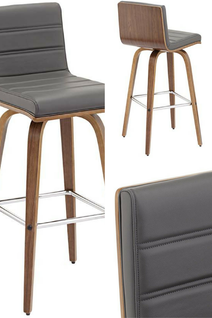 vienna 30 gray faux leather and walnut swivel bar stool 1g765 lamps plus in 2019. Black Bedroom Furniture Sets. Home Design Ideas