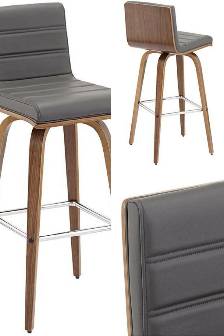 Vienna 29 1 2 Gray Faux Leather And Walnut Swivel Bar Stool