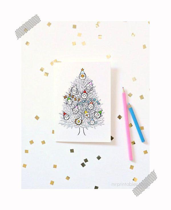 Tarjetas de Navidad para imprimir y colorear | Colorear, tarjetas de ...