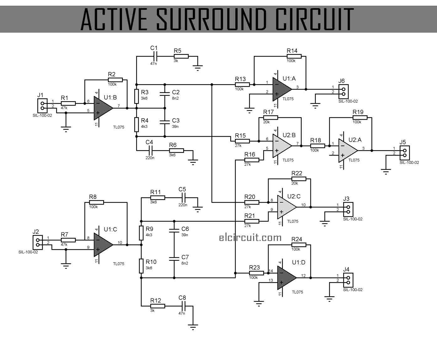 This Active Surround Sound Circuit is very suitable for converting Stereo  Input into Surround Sound 4