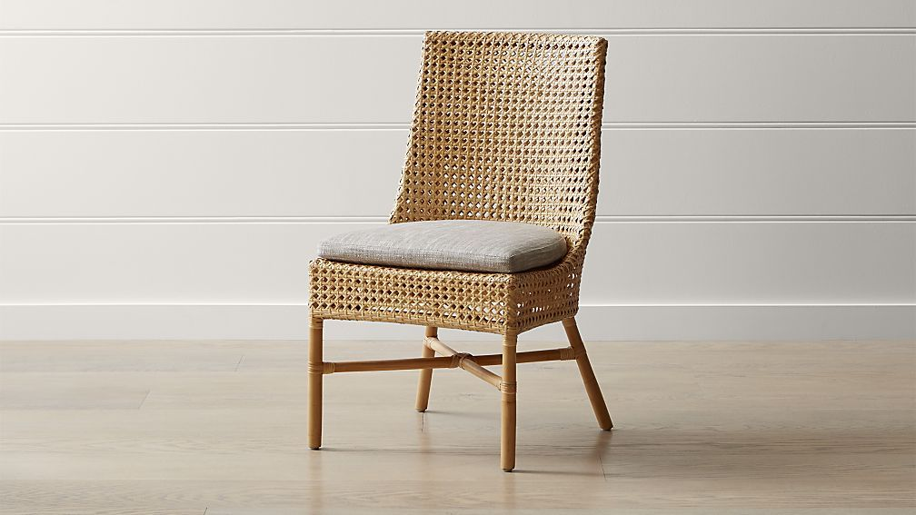Maluku Natural Rattan Dining Side Chair And Cushion Rattan