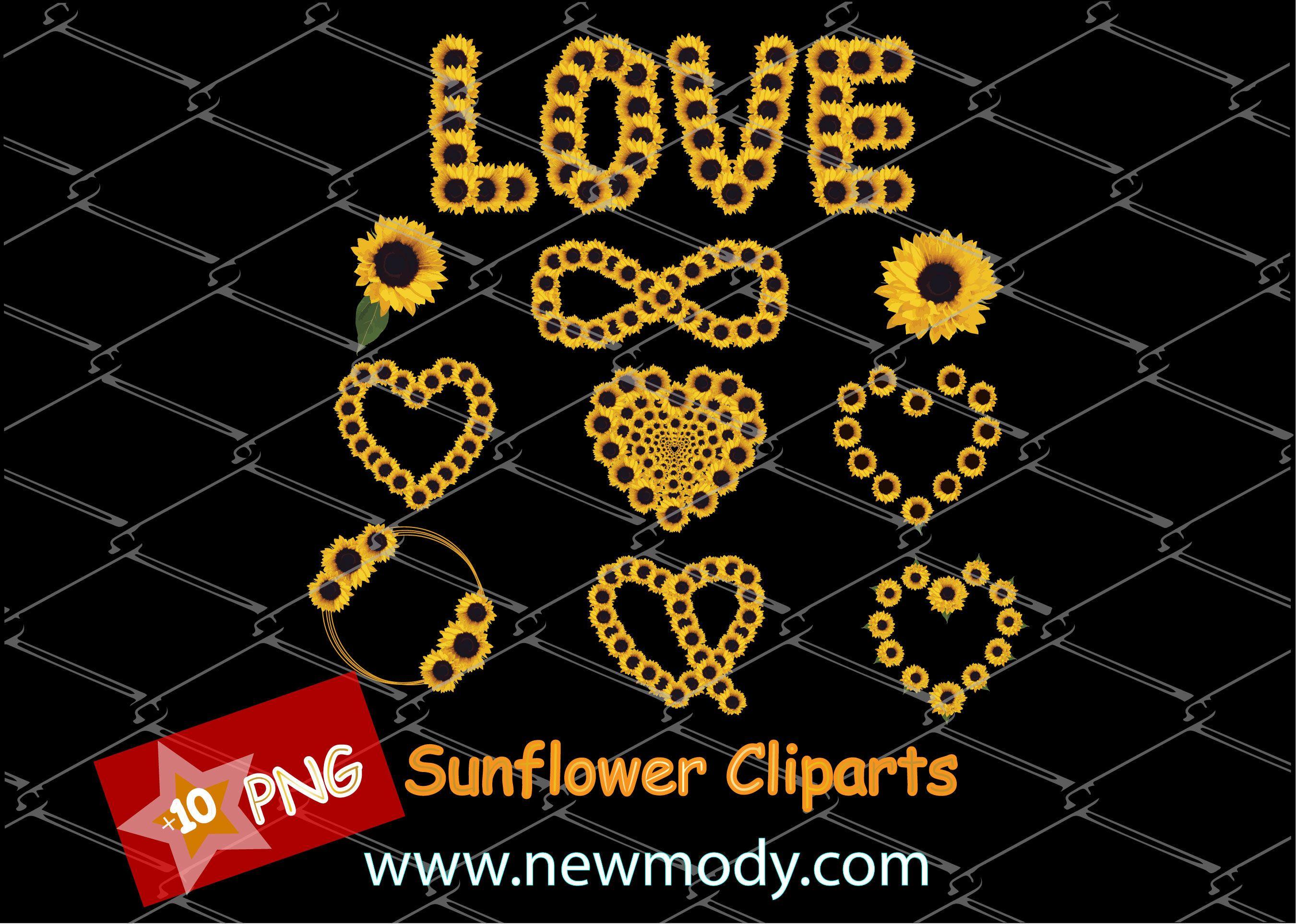 Sunflower Clipart Bundle - Set of Sunflower PNG ...