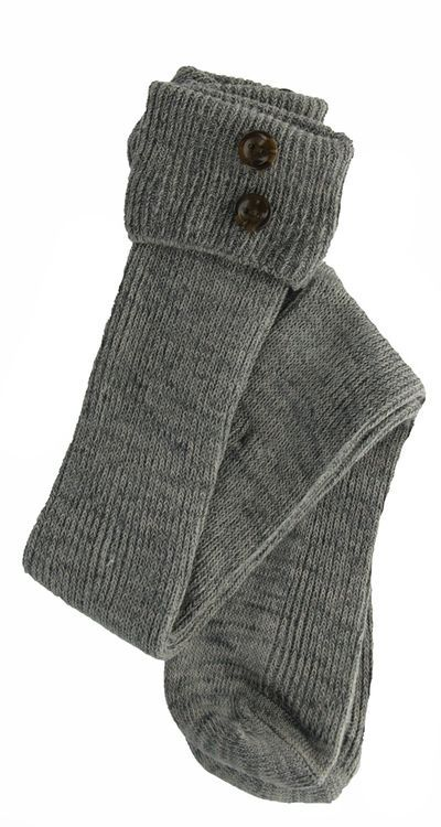 Foldover Heathered Button Boot Sock in Grey by Noelle