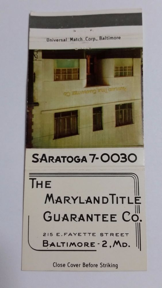 The Maryland Title Guarantee Co Baltimore Maryland 30 Stick