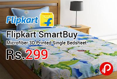 Flipkart SmartBuy Microfiber 3D Printed Single Bedsheet at