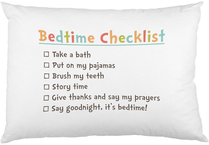 Bedtime checklist pillowcase