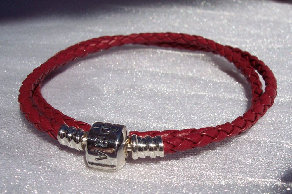 Pandora Red Leather Bracelet Double Smooth Retired Uk Released 2017 Rare Free Shipping
