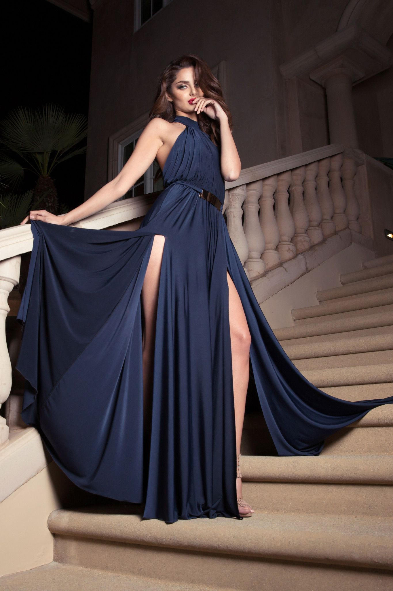 Nicole Bakti Valeria Halter Evening Gown | Gowns, Designer evening ...