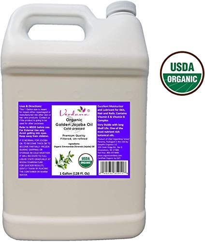 New Organic Verdana USDA Certified Organic Golden Jojoba Oil, Cold Pressed, Unrefined, 1 Gallon Bulk size - Deepthi Organics online shopping #jojobaoil