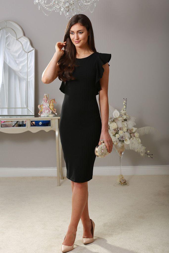 9de56e6e2ce1af Black midi ruffle shoulder bodycon dress | LBD - Little Black Dress ...