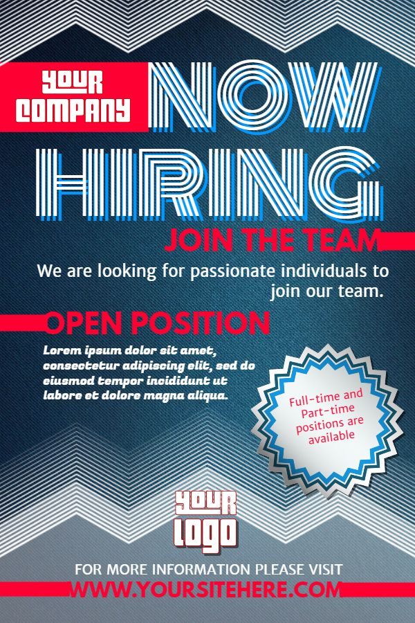 Hiring poster design template. Click to customize ...