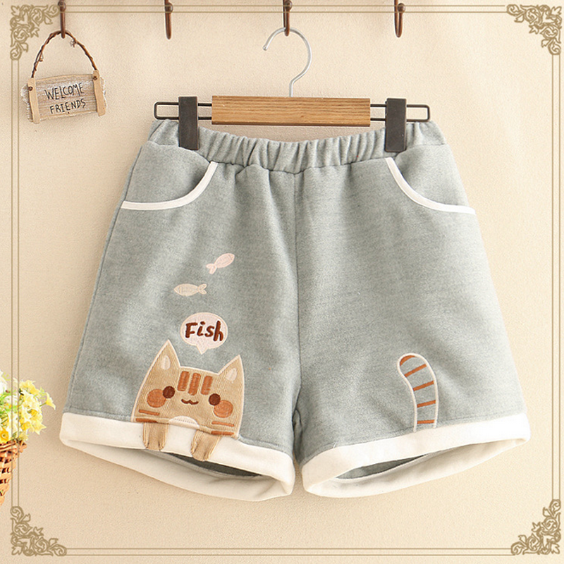 Cat Fish Embroidery Cotton Shorts