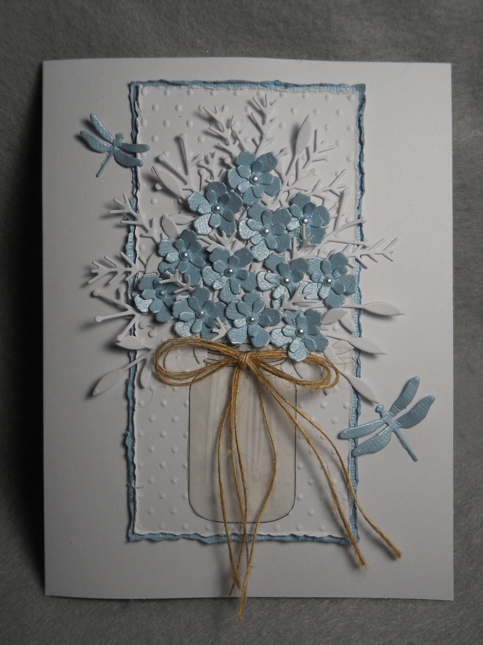 Blue bouquet, blue flowers, lacy white foliage, mason jar w flowers, blue dragonfly accents, embossed, very dimensional, blue bouquet