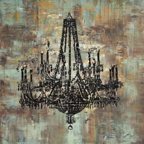 Chandelier Wall Art art in style 'black chandelier' hand-painted canvas wall art