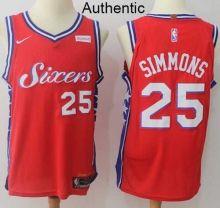 Men's Philadelphia 76ers #25 Ben Simmons 2017-18 Nike Red Swingman Stitched NBA Jersey