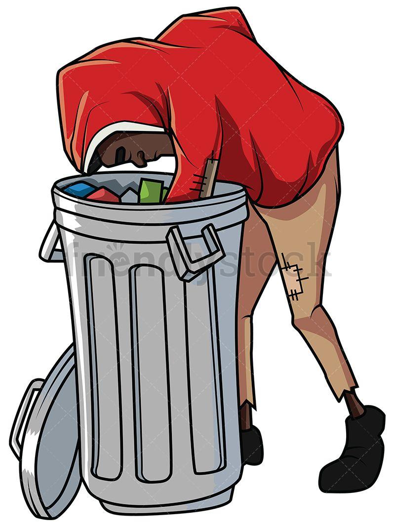Black Man Looking For Food In Trash Vector Cartoon Clipart Friendlystock Cartoon Character Design Cartoon Clip Art Character Design