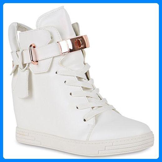 dbc7246830d5fc Damen Sneakers Keilabsatz Sneaker-Wedges Lederoptik Schuhe 134979 Weiss  Schnallen 40