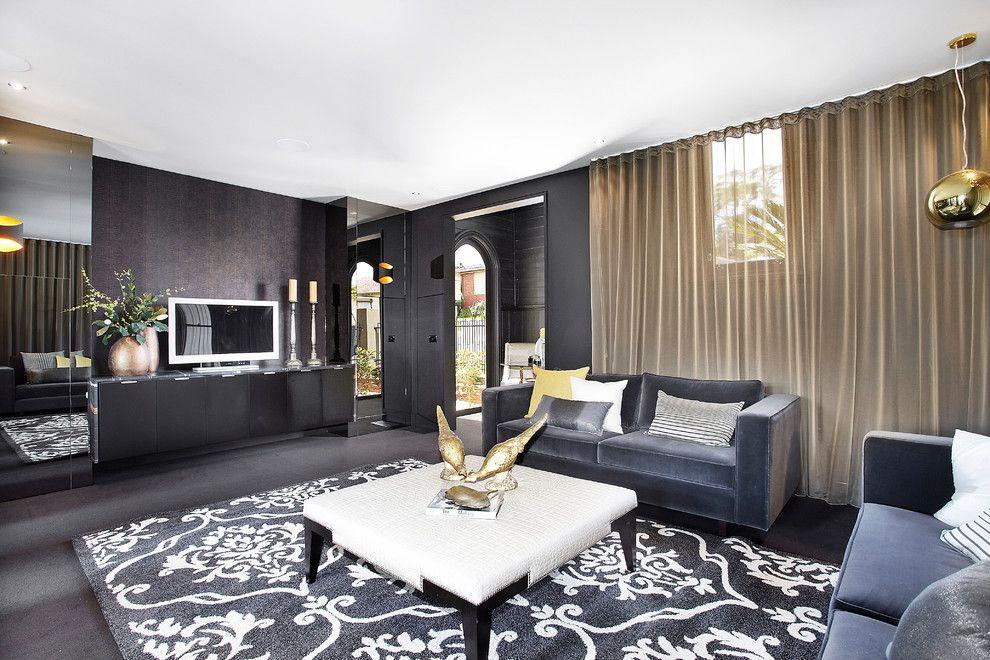 Grey Sofa Living Room Contemporary With Area Rug Black