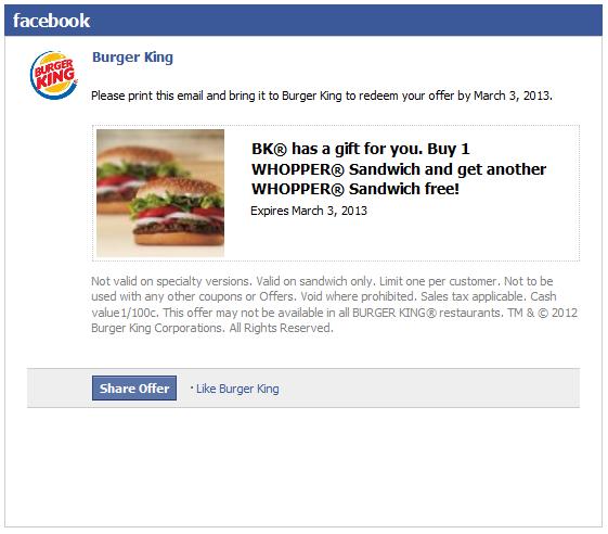 Burger King Deal! (With images) Burger king deals