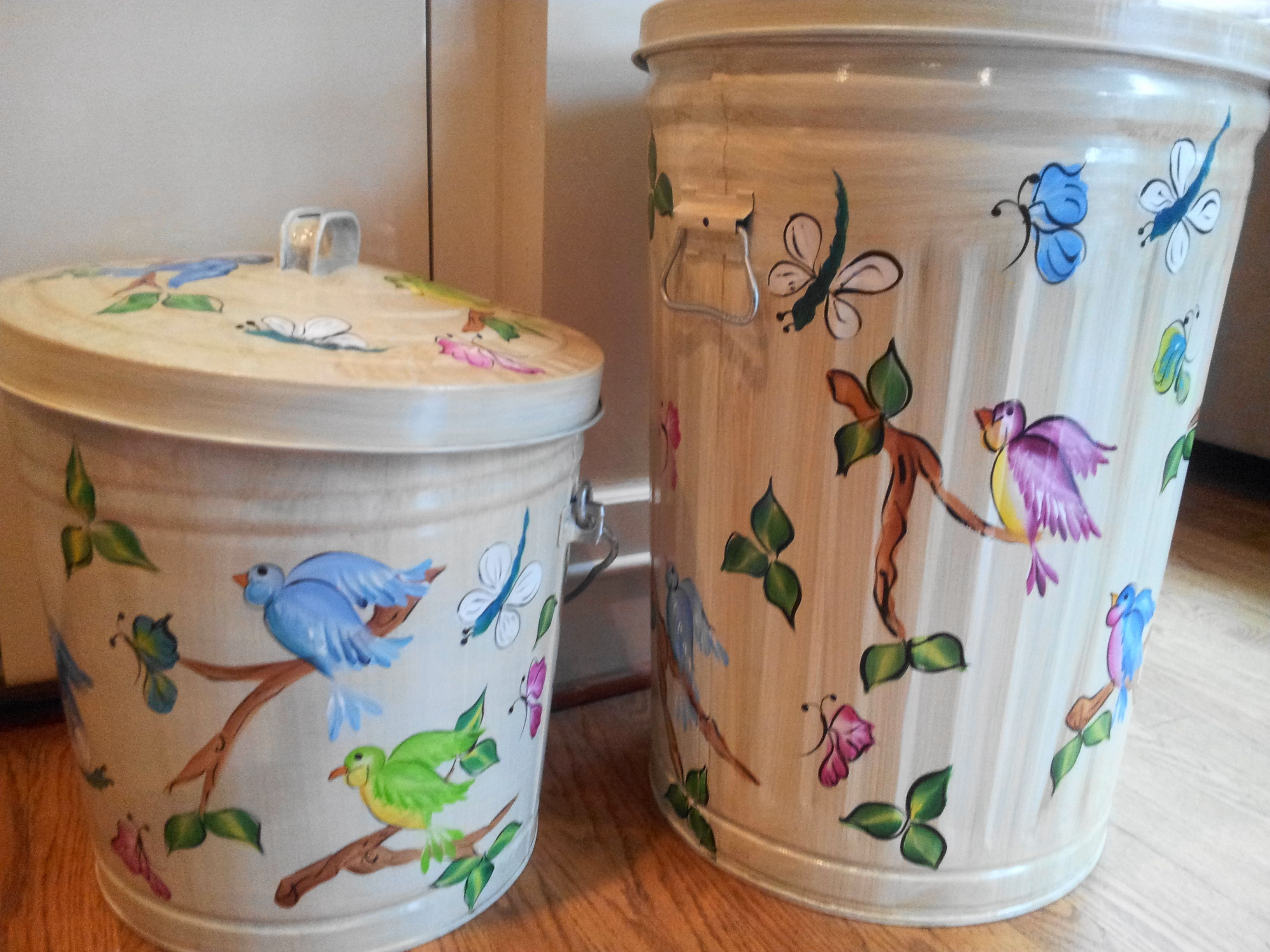 20 Gallon & 10 Gallon Hand Painted Cans  krystasinthepointe - ETSY
