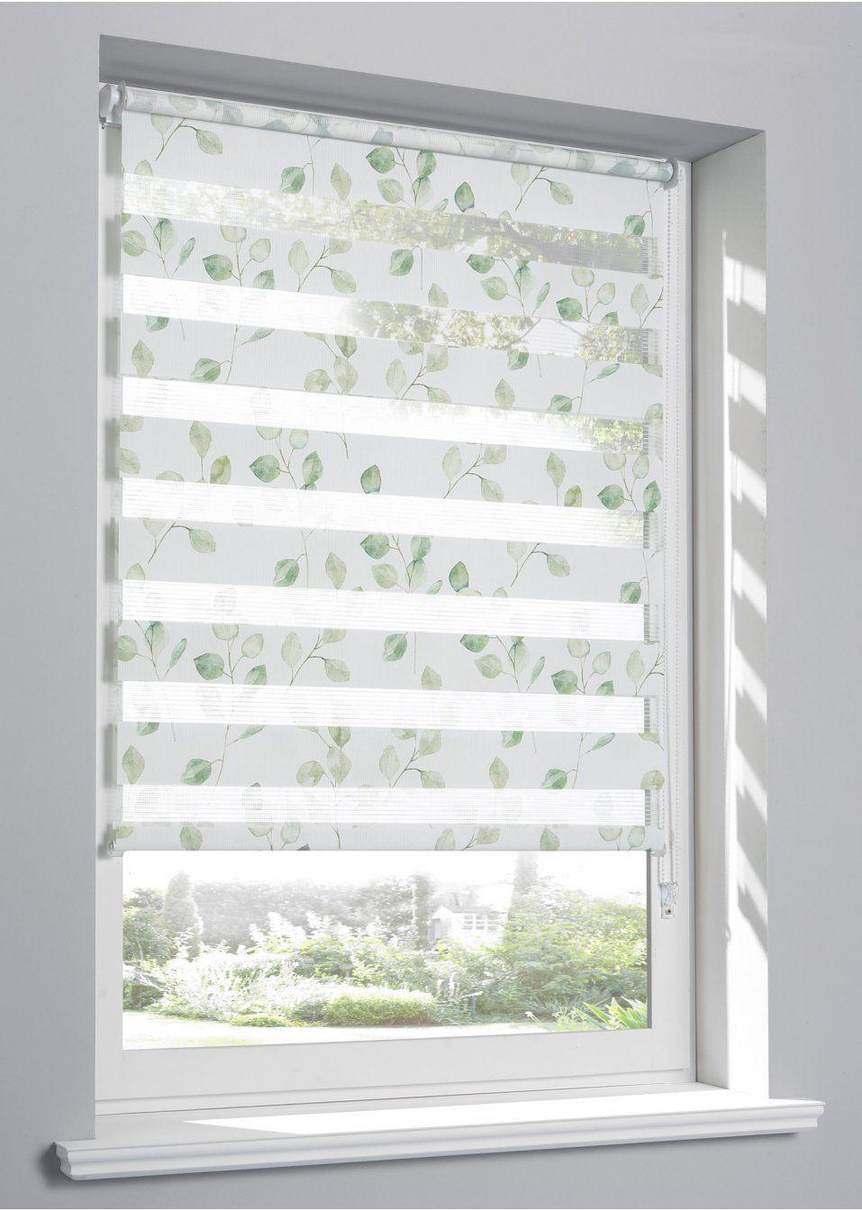 Feiner Blumen Ranken Druck Weiss Grun Klemmtrager Fensterrahmen Kettenzug Weiss