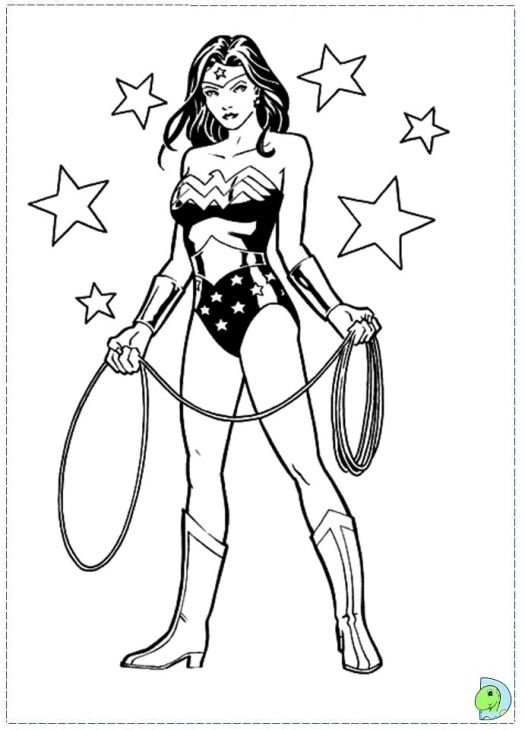 DC Comic Superhero Wonder Woman Coloring Page | Adult Coloring Pages ...