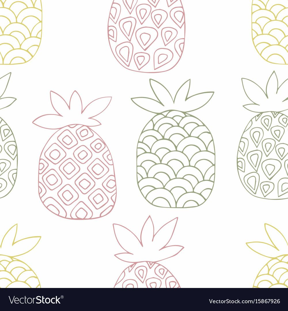 Pineapples. Hand drawing. Vector seamless pattern for the