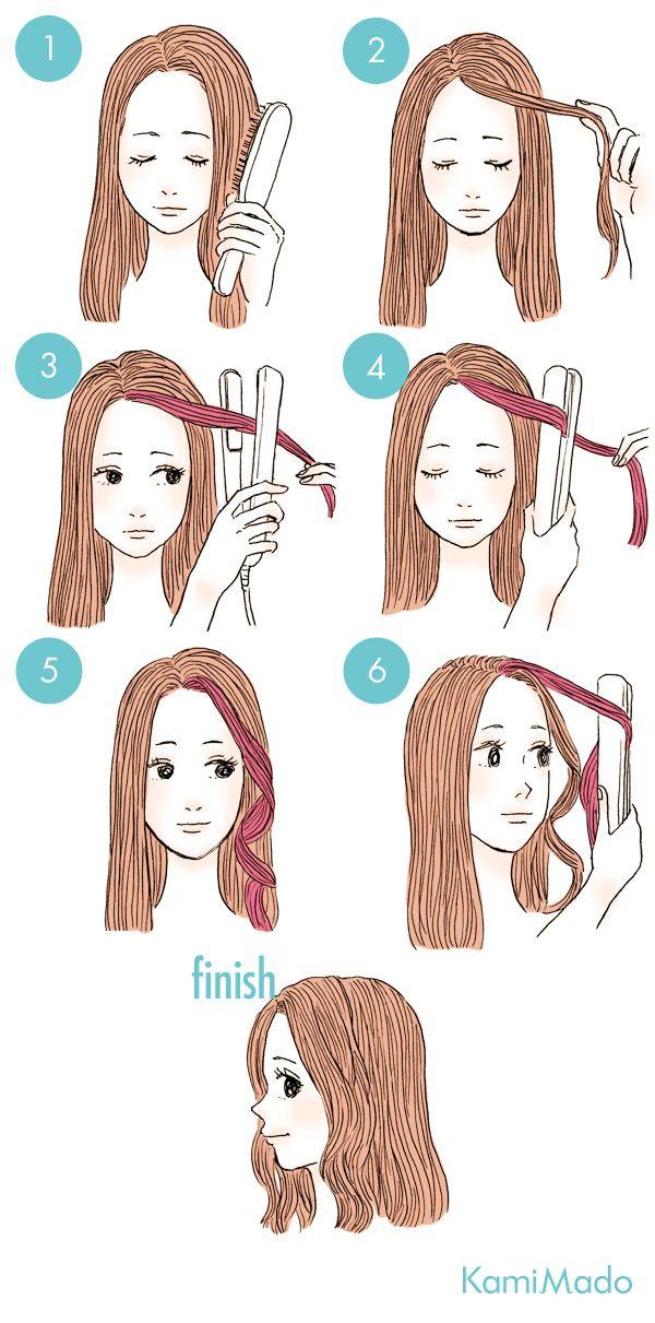 お洒落な波ウェーブ前髪の作り方 イラスト付き 前髪 作り方 ヘアアレンジ ヘアスタイルのアイデア