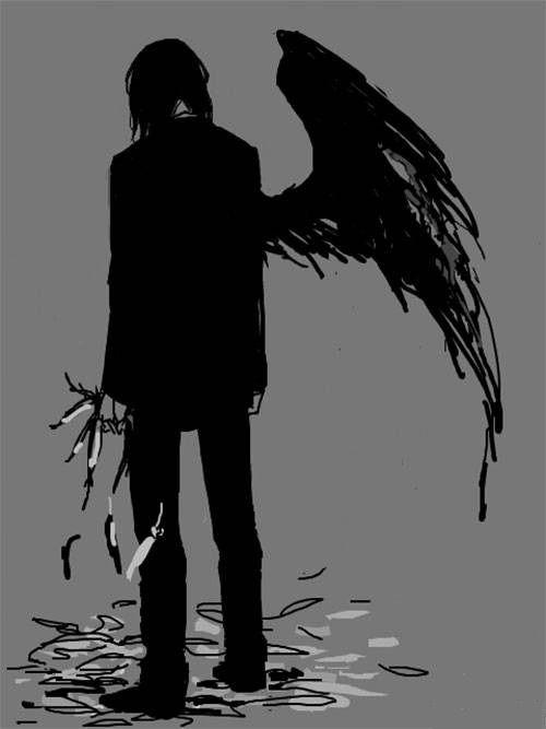 Anime Black And White Fallen Angel Manga Wings Dark Anime