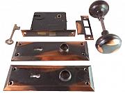 Shapleigh's Diamond Antique Copper Finish Door Knob Set