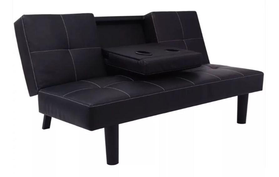 Canape Lit Avec Table Deroulante Simili Cuir Noir Calvin Canape
