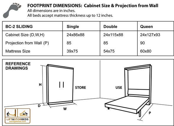Cabinet dimensions for library wall bed sliding kit murphy beds the library bed sliding do it yourself hardware kit by lift stor beds is perfect for storing books toys or any other items you want to store solutioingenieria Gallery
