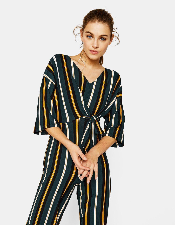 b50e80f0e96 Bershka Azerbaijan - Long striped jumpsuit