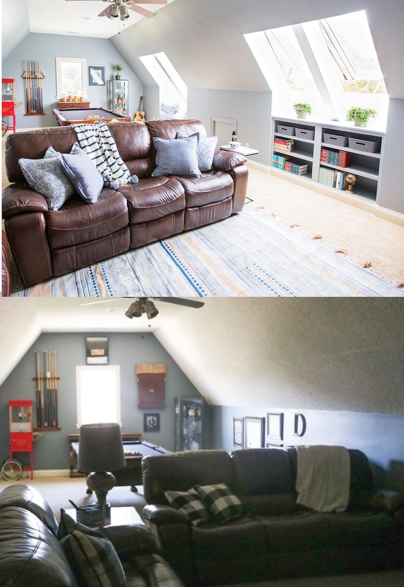 Man Cave Makeover with VELUX Skylights | Skylight, Spaces and Attic